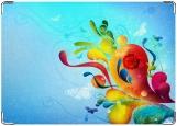 Обложка на паспорт с уголками, синие цветы