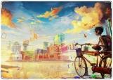 Обложка на паспорт с уголками, Мальчик на велосипеде