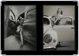 Обложка на автодокументы с уголками, Ретро-девушки