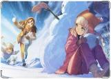 Обложка на паспорт с уголками, Аниме девчонки и снеговик