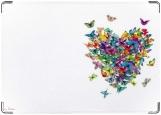 Обложка на паспорт с уголками, сердце из бабочек