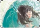 Обложка на трудовую книжку, девочка с зонтиком
