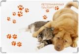Обложка на ветеринарный паспорт, Кот и пёс