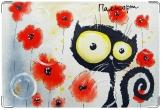 Обложка на ветеринарный паспорт, Кот в цветах