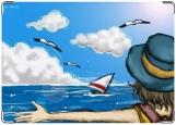 Обложка на паспорт с уголками, на море