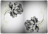 Обложка на паспорт с уголками, роза карандашом
