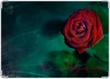 Обложка на автодокументы с уголками, Красная роза