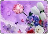 Обложка на паспорт с уголками, Розы и тюльпаны