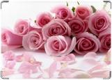 Обложка на паспорт с уголками, розовые розы