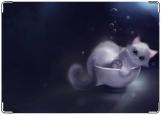 Обложка на автодокументы с уголками, Кошка в чашке