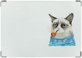 Обложка на паспорт, кот с трубкой