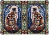 Обложка на паспорт с уголками, Орнаментальный кот Семён
