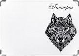 Обложка на паспорт с уголками, волк орнамент