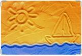 Обложка для свидетельства о рождении, море. кораблик