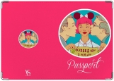 Обложка на паспорт с уголками, Kisses