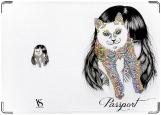 Обложка на паспорт с уголками, Alice&cat