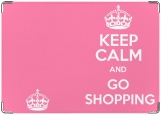 Обложка на паспорт с уголками, Keep calm and go shopping