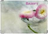 Обложка на паспорт, цветы в воде
