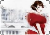 Обложка на паспорт с уголками, Девушка в красном