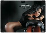 Обложка на автодокументы с уголками, Девушка с мотоциклом