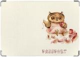 Обложка на паспорт с уголками, Owl