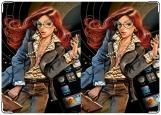 Обложка на паспорт с уголками, девушка+айфон