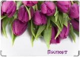 Обложка на паспорт с уголками, Тюльпаны