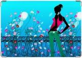 Обложка на паспорт, девушка и цветочная изгородь