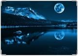 Обложка на паспорт, гора и луна