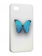 Чехол iPhone 4/4S, Голубая бабочка