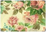 Обложка на автодокументы с уголками, розы акварель