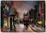 Обложка на автодокументы с уголками, Дождливый Лондон