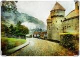 Обложка на паспорт с уголками, Винтаж. Замок.