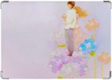 Обложка на паспорт с уголками, Девочка и мальчик  на цветке