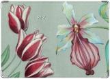 Обложка на паспорт с уголками, Орхидея и тюльпаны