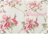 Обложка на паспорт с уголками, Pink flowers