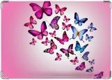 Обложка на паспорт с уголками, розовые бабочки