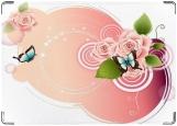 Обложка на паспорт с уголками, Бабочки и розы