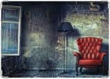Обложка на паспорт с уголками, Красное кресло