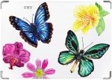 Обложка на паспорт с уголками, Цветы и бабочки