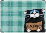 Обложка на паспорт с уголками, Котик