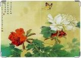 Обложка на паспорт, Пионы и бабочка