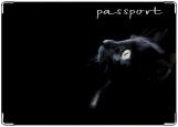 Обложка на паспорт с уголками, Чёрный кот.