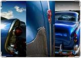 Обложка на права, retro blue car