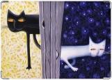 Обложка на автодокументы с уголками, Коты