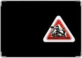 Обложка на автодокументы с уголками, Мотоциклист за рулем