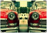 Обложка на автодокументы с уголками, Ретро в красном цвтете