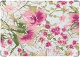Обложка на права, Розовые цветы (акварель)