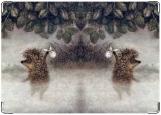 Обложка на автодокументы с уголками, ежик в тумане