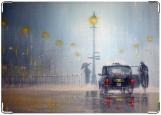 Обложка на автодокументы с уголками, Дождливый вечер